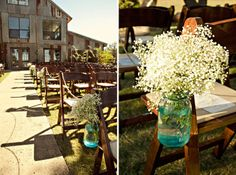 Babys breath. I had these for my head table. Amazing and rustic for the budget bride