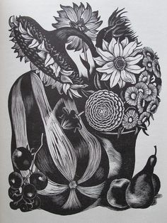 "Wood Engraving for ""Flowers and Faces"" by John Nash, 1935"