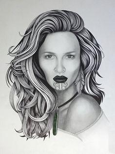 """""""Pounamu"""" by Kati Garrett Filho. Paintings for Sale. Maori Face Tattoo, Tattoo Templates, Polynesian Art, New Zealand Art, Maori Tattoo Designs, Nz Art, Maori Art, Portrait Sketches, Zodiac Art"""