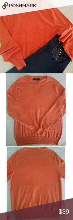 J. Crew Sweater Cotton with Cashmere Color: Soft Orange  Cover photo shows more of a harsh Orange but true color shows in picture 2 and 3 Tag came apart on top right corner but does not affect the use of the sweater 😊  ▪95% Cotton ▪5% Cashmere   Measurements: Laying Flat •Neckline to bottom seam: 28 in. •Bust/Armpit to armpit: 22in. •Arm length: 25 in.   I also ship out same or next business day🌻🖤 J. Crew Sweaters Crew & Scoop Necks