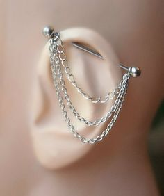 Industrial Barbell Ear Piercing with chains by triballook on Etsy, $12.00