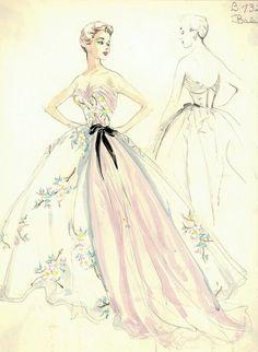 Fashion illustration dresses.