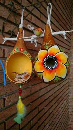 Decorative Gourds, Hand Painted Gourds, Painted Pumpkins, Diy Arts And Crafts, Crafts For Kids, Diy Crafts, Gourds Birdhouse, Birdhouse Designs, Wood Burning Patterns