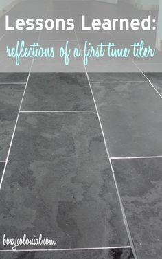 Lessons Learned from our First Time Tiling: Black Slate Tile in the Master Bath Master Bath Tile, Bath Tiles, Diy Tiles, Ceramic Floor Tiles, Home Repairs, Diy Home Improvement, Home Renovation, Home Remodeling, Bathroom Remodeling