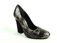 J. Rene� Women's RATTLE Shoes Black Brown Pewter Snake Print Pumps Size 8.5