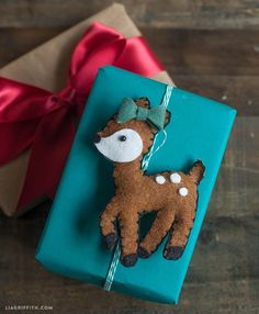 Make a Felt Deer Gift Topper or Ornament