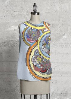 This top, cut with a flattering A-line and a rounded asymmetric hem, will make you look and feel effortlessly beautiful - day or night. Beautiful Day, Circles, Print Design, Money, How To Make, Blue, Collection, Tops, Fashion