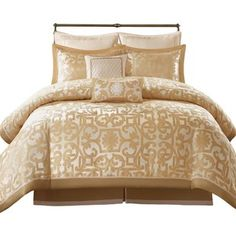 House of Hampton Corbridge 8 Piece Comforter Set Size: Ruffle Bed Skirts, Ruffle Bedding, Gold Bedding, Rose Gold Bed, Waterford Bedding, Chevron Duvet Covers, Bedding Collections, Comforter Sets, Duvet Cover Sets
