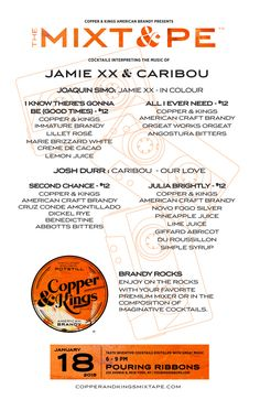 Copper & Kings MIXT&PE Menu at Pouring Ribbons, NYC on Jan. 18, 2016. Cocktails interpreting the music of Jamie xx & Caribou #brandy #brandyrocks #mixtape #copperandkings #americanbrandy #craftbrandy #pouringribbons #nyc #newyork #newyorkcity #jamiexx #caribou #cocktail #cocktails #brandycocktail #drink #music #goodtimes #allieverneed #secondchance #juliabrightly