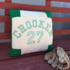 In memory of Dad. My customer told me the story of this 1970s jersey. It hung in his garage/work shop for 30-35 years. She said it was the one thing that she couldn't part with from the garage. She is giving the memory pillow to her step mom (her Dads wid