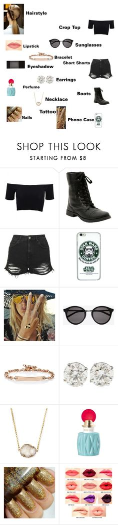 """Raina's outfit for day in Rio De Janeiro, Brazil"" by onedirectionforever1297 on Polyvore featuring American Apparel, Topshop, Flash Tattoos, Yves Saint Laurent, Hoorsenbuhs, Jules Smith, Miu Miu, NYX and Forever 21"