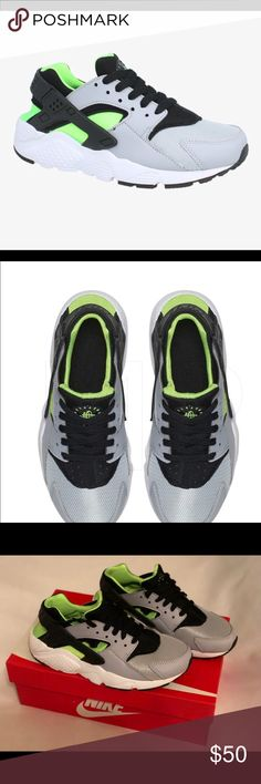 Nike Huarache Run Sneakers Size 8 Women Classic Nike Huarache Run Sneaker Grade School size 6  Women's size 8  Wolf grey/Black/Electric Green/White   Perfect for school, working out or hanging out Like new condition except for slight scuff on the back left Sneaker  Offers welcomed Nike Shoes Sneakers