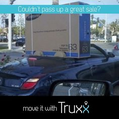 TV sale, but you drive a convertible! Truxx is like Uber for moving large bulky items that won't fit in your car. Signup for the free app today. #moving #movingday #uhaul #uber #homedepot #lowes #longisland #syracuse #tampa #boston #miami #nyc #ikea #diy #summer #fun #syracuseuniversity