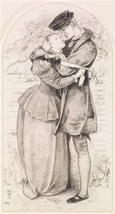A Huguenot - Compositional Study by John Everett Millais ~ The oil was exhibited at the Royal Academy in 1852 as 'A Huguenot, on St Bartholemew's Day, Refusing to Shield Himself from Danger by Wearing the Roman Catholic Badge'. In 1572, on St Bartholemew's Day, French Catholics slaughtered thousands of Huguenot Protestants. Millais has depicted a romantic scene - the Catholic girl trying to persuade her Huguenot lover to escape the massacre by wearing a distinguishing armband.
