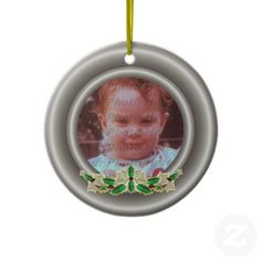Holly & Ivy Garland Pewter Color Frame Christmas Ornament