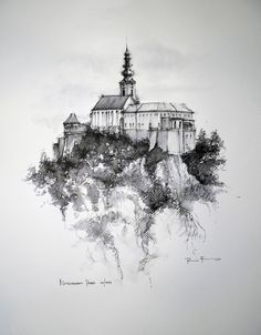 NITRA - Castle - Slovakia,   Drawing on paper, , 30x50cm   © Pavel Filgas 2014   https://www.facebook.com/Pavel-Filgas-Art-500412180019911/ https://www.instagram.com/pavel_filgas_art/ https://twitter.com/PavelFilgas https://www.pavelfilgas.com, PAVEL FILGAS