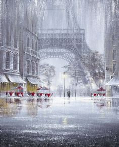 """Unforgettable"" by Jeff Rowland, painting, paris, eiffel tower, rain From Paris With Love, Oh Paris, I Love Paris, Rainy Paris, Beautiful Paris, Paris Cafe, Torre Eiffel Paris, Louvre Paris, Singing In The Rain"
