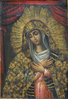 La Virgen De La Soledad - Our Lady of Sorrows, Spanish Colonial, Cuzco School, late 18th/early 19th c.