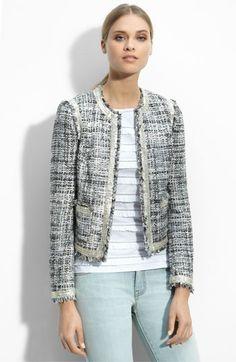 Tory Burch 'Demi' Collarless Tweed Jacket