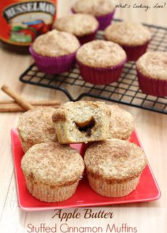 Apple butter stuffed cinnamon muffins.