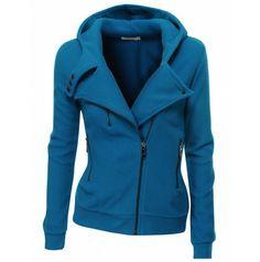 Womens Fleece Zip-up Hoodie with Zipper Point (PWD005)