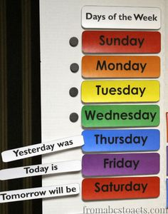 Teaching the days of the week with a DIY home preschool calendar board. Days Of The Week Activities, Days Of A Week, Toddler Learning Activities, Preschool Activities, Kids Learning, Calendar Board, Weekly Calendar, Kids Calendar, Toddler Calendar