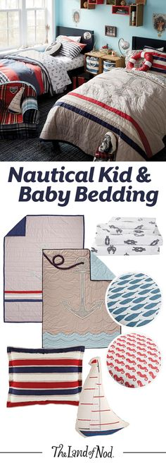 Make a splash in any bedroom or nursery with nautical-print bedding sets. Our lineup features navy hues and marine animal prints. Plus, any kid or baby will feel cozy snuggling into the soft sheets, quilts and shams.
