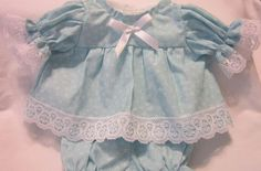 """Aqua Floral Print Dress/Bloomers fits 16-18"""" Cabbage Patch/Berenguer Babies #KindredHeartsDesigns"""