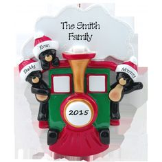 Black Bears in Train Family of 3 Personalized Ornament. This ornament and many more can be found at www.ornaments.com