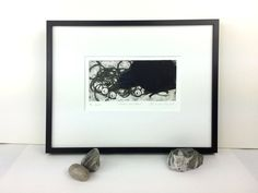 Crow With String of Pearls - Raven - Bird Art - Blackbird - Animal Print - Collagraph - Printmaking - Black and White -