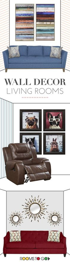 Try adding a colorful painting or gallery wall above the seating in your living room to bring character to your walls. Browse our amazing collection of wall decor at Rooms To Go!