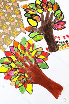 Paper Roll Printed Fall Handprint Tree: If you are looking for a simple Autumn Craft that can be recreated independently, encourages color-mixing and enhances fine motor skills with simple printing, painting and tracing, then this is an ideal project for you; designed and created by my very own Arty Crafty six-year old, this Autumn Craft for kids ticks all the boxes and is great for homeschool, preschool and any early years setting! Thanksgiving Crafts for Kids Kindergarten Thanksgiving Crafts, Thanksgiving Crafts For Toddlers, Easy Fall Crafts, Autumn Activities For Kids, Easy Arts And Crafts, Crafts For Kids To Make, Art For Kids, Kids Crafts, Fall Art Projects