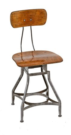 """original american depression era industrial """"posture line"""" factory office typist stool or chair fabricated by the toledo metal furniture co., toledo, oh. nearly all parts of the chair are comprised of steel, cold rolled and die formed. Vintage Stool, Vintage Furniture, Office Stool, Chair Pictures, Cafe Chairs, Tubular Steel, Steel Furniture, Chair Backs, Stationary"""