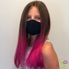 """Our fashion color specialist Cecilia used a balayage method with Aveda Vibrants Azalea to achieve our client's wish of """"bubblegum pink"""" hair. You can't tell, but there is a very big smile going on under that mask! Aveda Spa, Aveda Salon, Aveda Hair Color, Salon Services, Spa Gifts, Bubblegum Pink, Fashion Colours, Manicure And Pedicure, Pink Hair"""