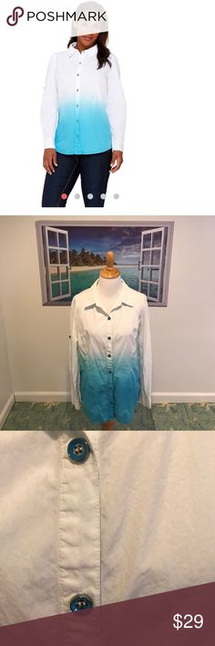 Isaac Mizrahi Dip Dye Shirt Fab Isaac Mizrahi Dip Dye Button Down Shirt. Size:XS. Gently worn once & washed once. Long sleeves with 2 button cuff & button on each arm roll tab sleeves. Buttons are blue & silver. Collard. White & bright blue/turquoise color. Pairs great with Capri pants wear it open with a tank underneath & roll up sleeves! 100% cotton. Machine wash tumble dry. NO TRADES. FINAL PRICE Isaac Mizrahi Tops Button Down Shirts