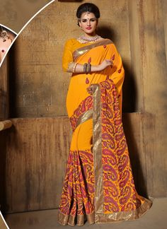 You can be bound to make a powerful fashion statement with this mustard weight less designer saree. Beautified with jembroidered, lace and resham work all synchronized effectively with all the trend a...