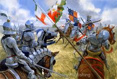 The Wars of the Roses - Battle of Bosworth, artwork by Graham Turner. This picture represents Richard III during his last charge, killing Henry Tudor's (future Henry VII) standard-bearer, William Brandon. Medieval Knight, Medieval Armor, Medieval Fantasy, Armadura Medieval, Military Art, Military History, Battle Of Bosworth Field, Landsknecht, Wars Of The Roses