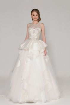 Modern Illusion Neck Sparkle Embrodiry Bodice Ball Gown Tiered  Organza Wedding Dress