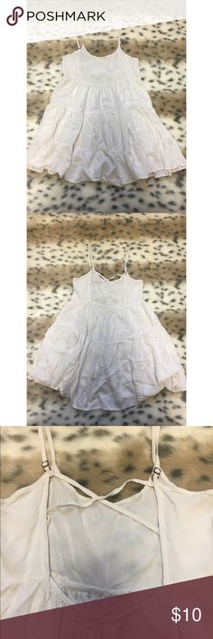 Cream Ruffle Mini Dress Super cute! Some discoloration. Adjustable straps. Size medium. Fits more like a small. Dresses Mini