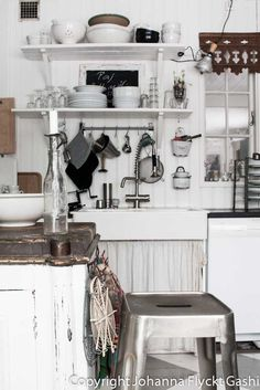 VINTAGE - old country kitchen all in white