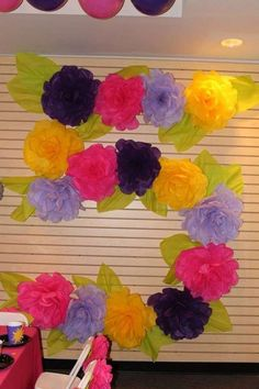 Floral number decoration at a Rapunzel birthday party! See more party ideas at CatchMyParty.com!