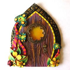 Toadstool Fairy Door, Miniature Pixie Portal, Home and Garden Decor, Polymer Clay Door, Tooth Fairy Entrance by Claybykim on Etsy