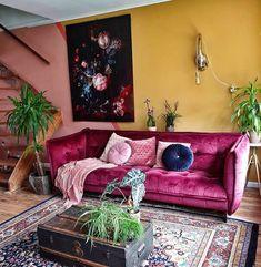 40 Cozy Stylish Bohemian Home Decor Ideas - The Architecture Home Interior Inspiration, Room Inspiration, Lila Sofa, Living Room Decor, Living Spaces, Décor Boho, House Colors, Decoration, Home Interior Design