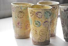 ceramic cup - set of four yellow blossom