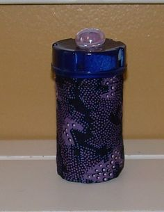 Purple Blue and Black QUILTED PILL BOTTLE by ClassyQuiltedBottles Prescription Bottles, Pill Bottles, Medicine Bottles, Perfume Bottles, Pill Bottle Crafts, Organizing, Organization, Craft Projects, Craft Ideas