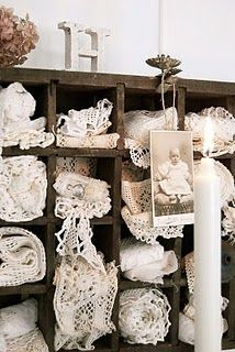 Lace stored displayed in old wood cubby box. Jo Anne, Vintage Rose Collection Blog