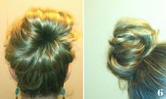 sock bun - easy hair-do for parties  I was able to do it on the first try. Although I did a nylon because my hair is light and thin.