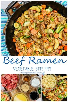 Easy Beef Ramen Stir Fry is a quick budget-friendly meal your family is going to love made with a homemade sauce and ready in 20 minutes from Walking on Sunshine Recipes. recipes easy recipes easy recipes easy recipes easy easy appetizers easy on a budget Healthy Eating Tips, Easy Healthy Recipes, Healthy Dinner Recipes, Easy Meals, Lunch Recipes, Drink Recipes, Dessert Recipes, Ramen Recipes, Stir Fry Recipes