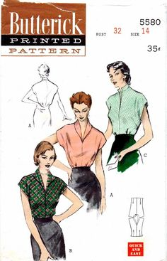 1950s Butterick 5580 Vintage Sewing Pattern Blouses: Wing, Shawl, or Stand-Up Collars: Set of three blouses that are Quick and Easy to cut and sew in