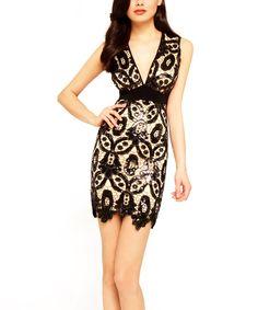 Sentimental NY Black & Nude Crochet V-Neck Dress by Sentimental NY #zulily #zulilyfinds